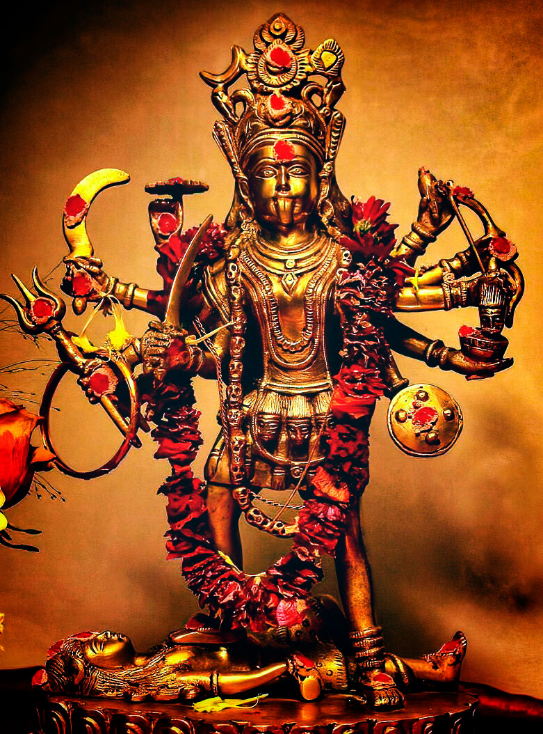 A metal statue or murthi of the Hindu goddess Kali