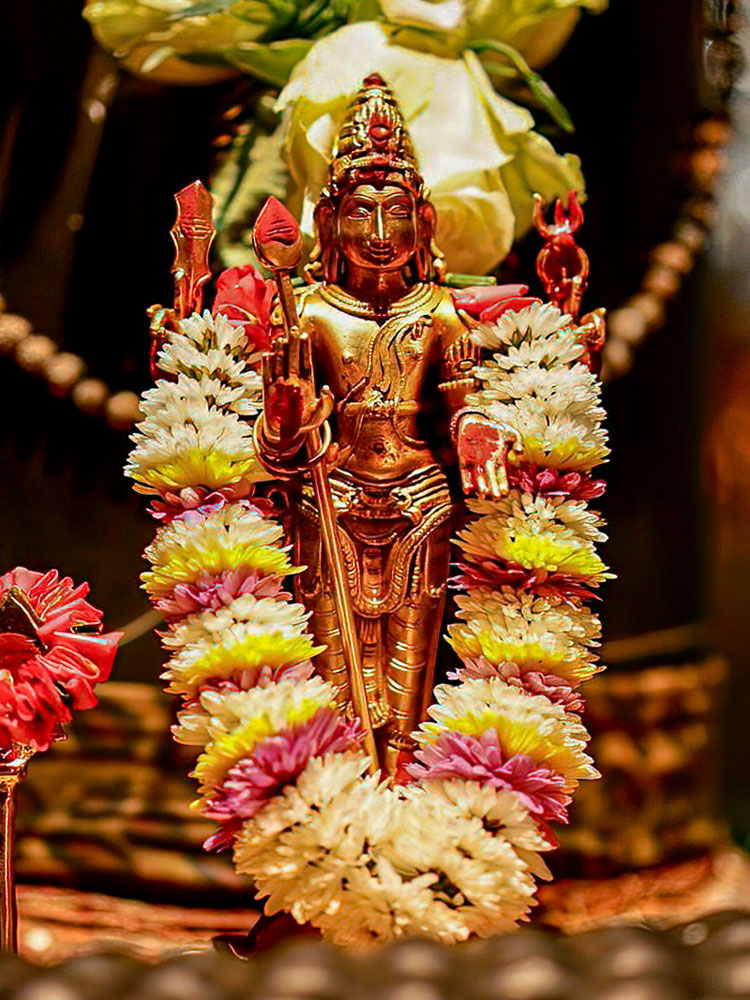 A metal statue or murthi of Subramanium / Murugan with flower garland